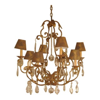 Traditional Arte De Mexico Hand Made Wrought Iron & Crystal 8 Light Chandelier