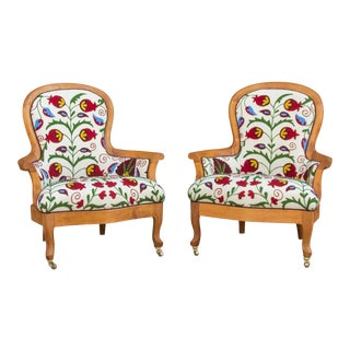 Suzani Embroidered Bergere Chairs - a Pair For Sale