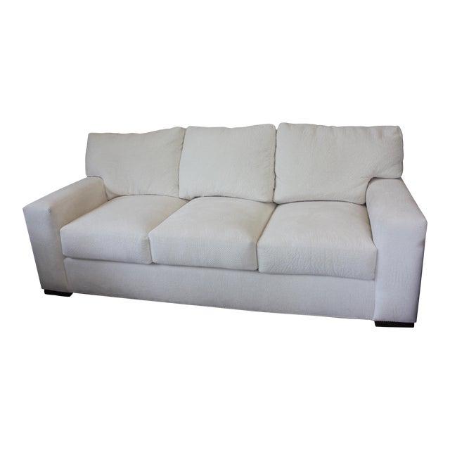 Contemporary Century Furniture White Fabric Sofa For Sale