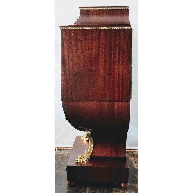 Empire / Biedermeier Style Lyre Form Secretary Desk in Mahogany With Gilt Dolphins For Sale - Image 4 of 13