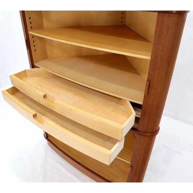 Rare Large Tambour Door Danish Modern Teak Corner Cabinet For Sale - Image 11 of 13