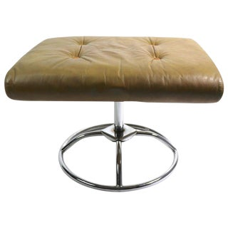 Leather and Chrome Ottoman by Plycraft For Sale