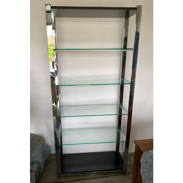 Milo Baughman Chrome Etagere With Glass Shelves For Sale - Image 4 of 8
