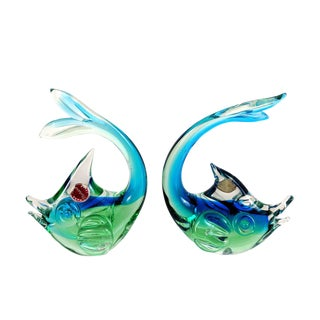 Pair 1960s Murano Blue & Green Glass Fish For Sale