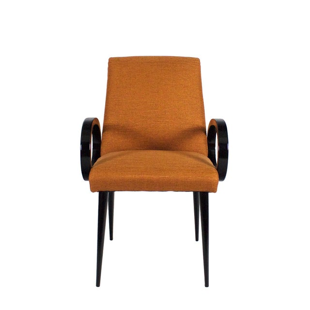 Pair of bridge armchairs with oval arms, stained and French polished beechwood, new upholstery with fibreguard rusty...