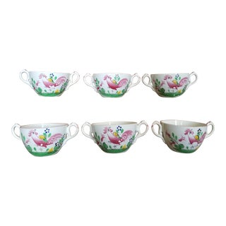 Six French Faince Luneville Soup Cups For Sale