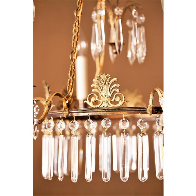 Metal Neoclassical Style 6-Light Brass and Crystal Chandelier, Sweden, Circa 1890 For Sale - Image 7 of 10
