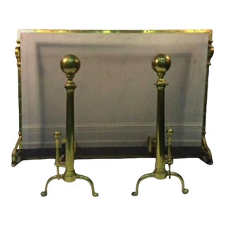 EXCEPTIONAL GIANT BRASS FIREPLACE SCREEN WITH ANDIRONS For Sale