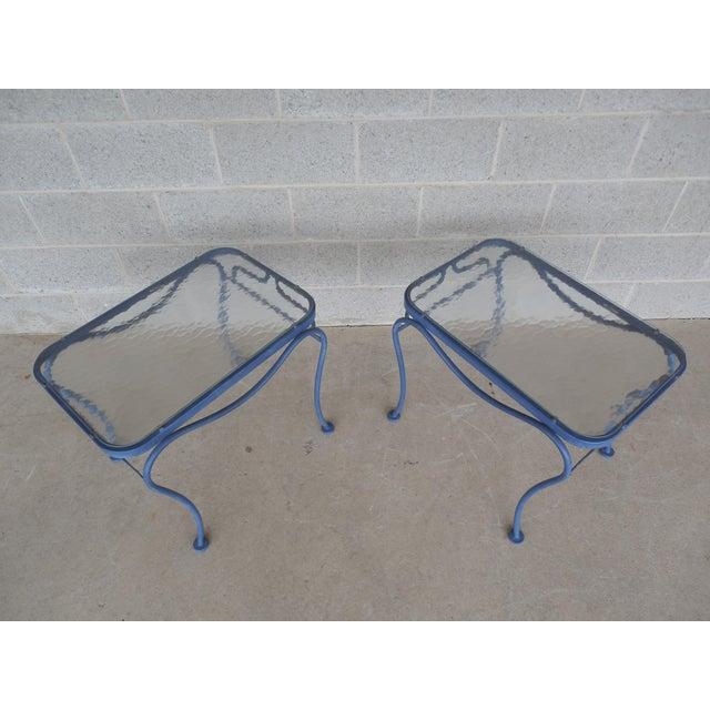 Vintage Woodard Hampton Park Pair Glass Top End Tables Model #1A052903 - Image 3 of 8
