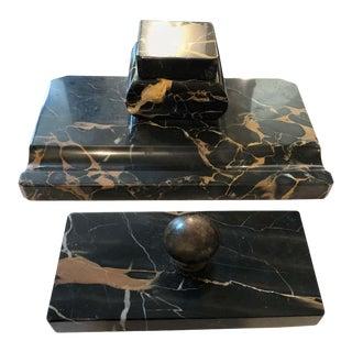 1930s Italian Art Deco Portoro Marble Desk Set For Sale