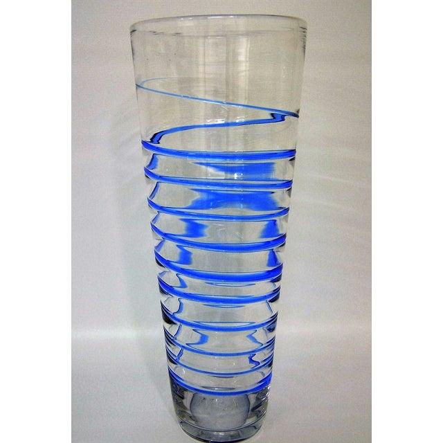 Contemporary Monumental Transparent & Blue Glass Vintage Blenko Vase Large Mid-Century Modern MCM For Sale - Image 3 of 10