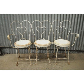 Vintage Mid Century Patio Garden Ice Cream Parlor White Iron Three Seat Bench Preview