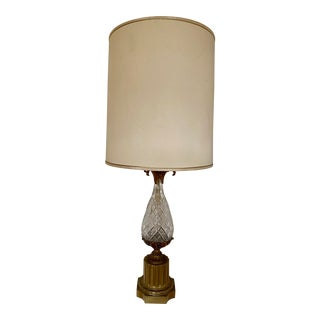 1950s French Bronze Diamond Crystal Glass Pineapple Table Lamp For Sale