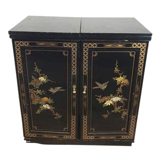 Vintage Chinoiserie Style Wood Bar Cabinet