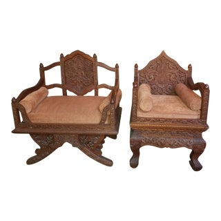 Antique Asian Ornate Carved Thrown Chairs - Pair For Sale