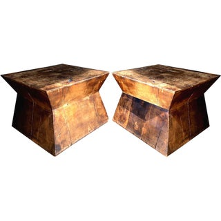 Rustic Hardwood Timber Slab Bespoke Tables - a Pair For Sale