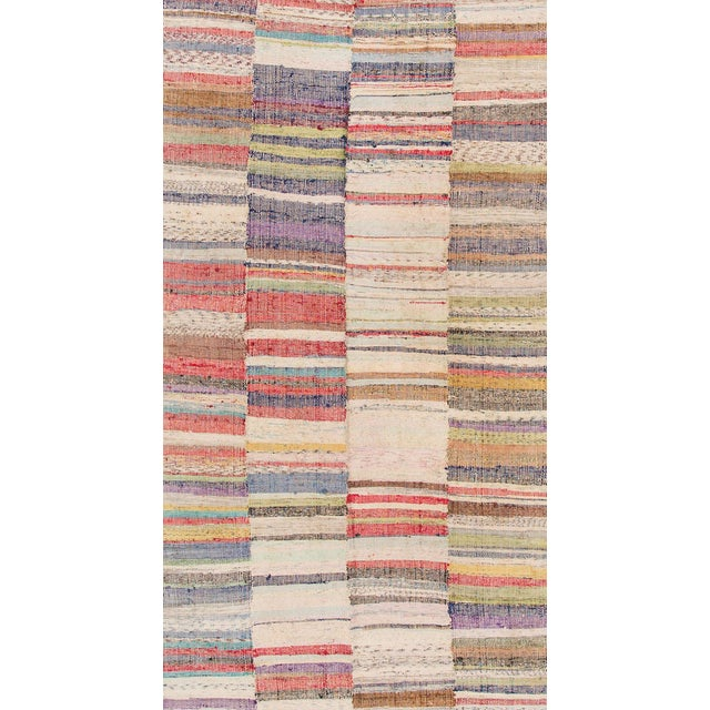"Apadana - Vintage Multicolored Striped Turkish Flatweave Carpet, 4'10"" x 9'2"" For Sale"