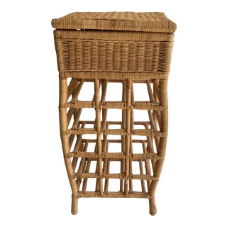 Boho Cottage Wicker Wine Storage & Drawer For Sale