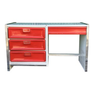 1960s Modern Molded Red Plastic Front Writing Desk For Sale