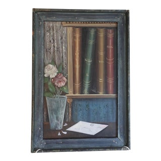American School Trompe-L'œil Still Life Painting (Worcester, Ma), Framed For Sale