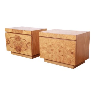 Milo Baughman Style Burl Wood Nightstands by Lane For Sale