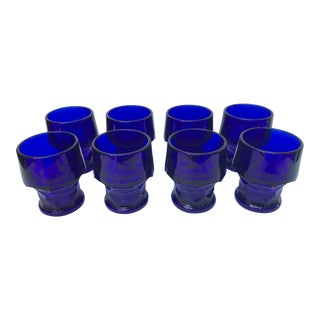 1950s Georgian Viking Cobalt Blue Juice Glasses -Set of 8 For Sale