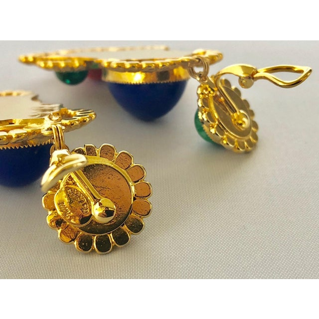 Gold Egyptian Revival Ornate Statement Earrings For Sale In Palm Springs - Image 6 of 7