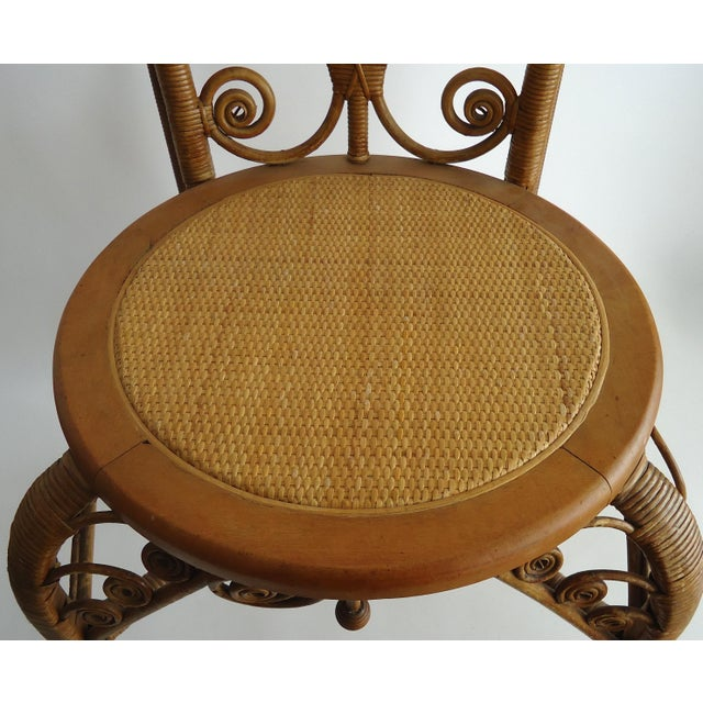 Late 19th Century Vintage Heywood Wakefield Victorian Wicker Photographer's Chair For Sale - Image 11 of 12