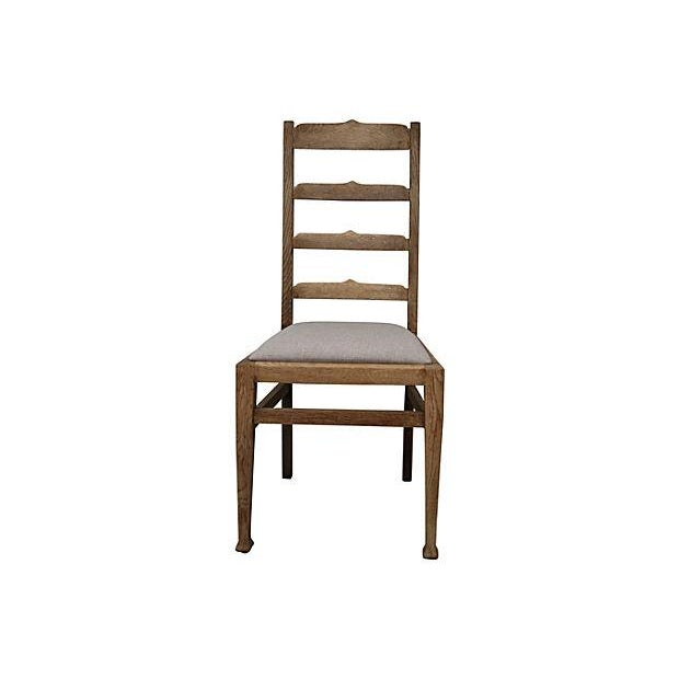 Antique Oak Ladder-Back Chair - Image 2 of 3