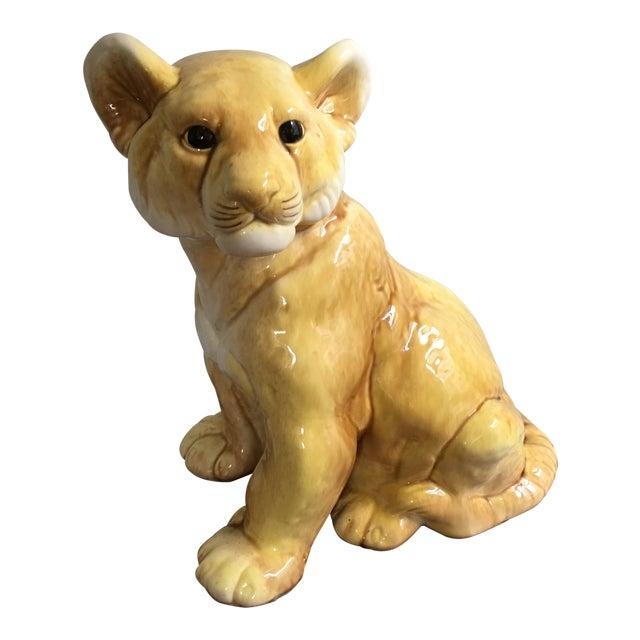 Vintage Eclectic Life-Size Ceramic Lion Cub For Sale