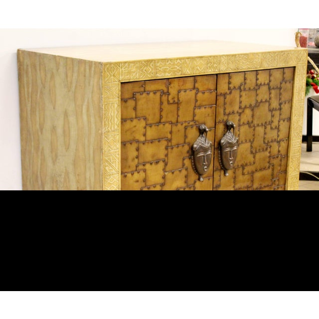 For your consideration is a phenomenally unique, Asian inspired, bronze and painted leather, small credenza or large...