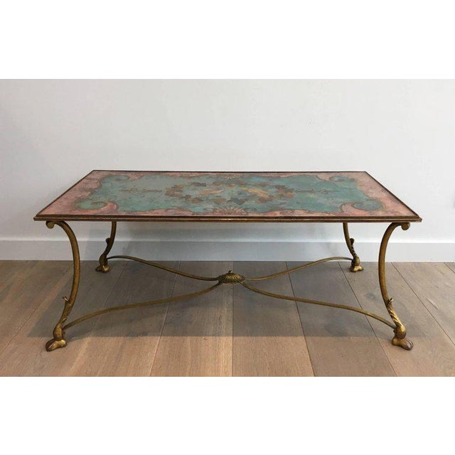 Neoclassical Coffee Table With Gilt Base and Reverse Painted Mirror Top - Image 2 of 11