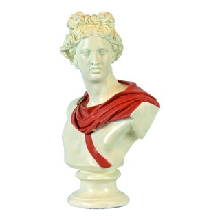 Unique Midcentury Polychrome Painted Plaster Bust of Apollo Belvedere