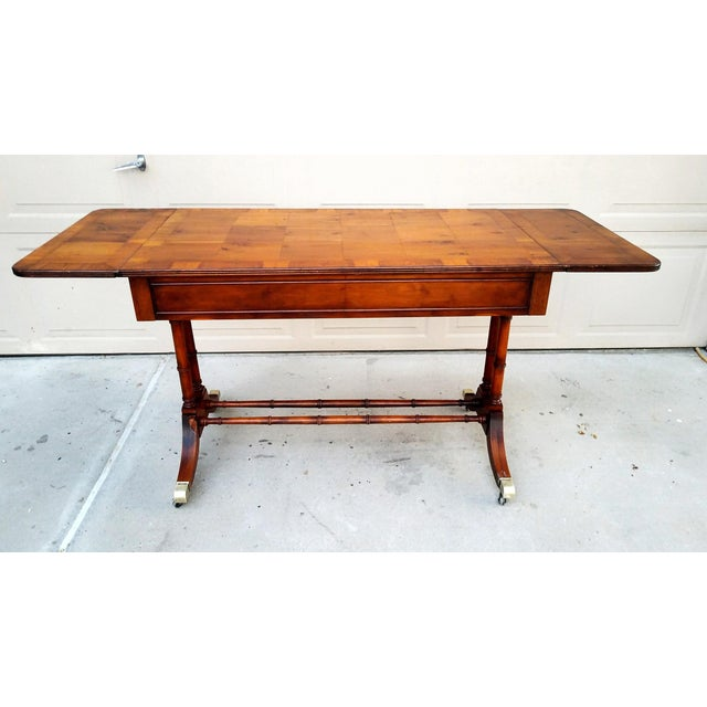 Traditional Baker Mid-Century Bamboo Drop-Leaf Table For Sale - Image 3 of 11