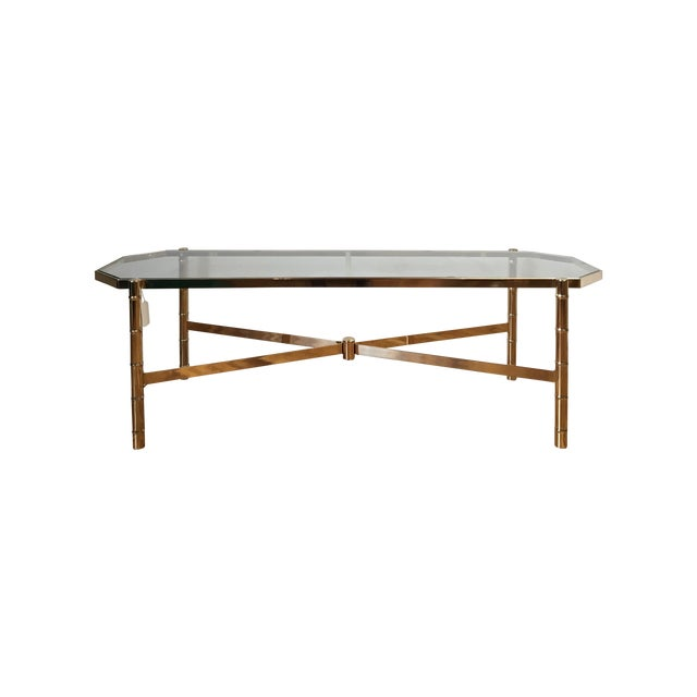 Brass and Glass Faux Bamboo Coffee Table - Image 1 of 5