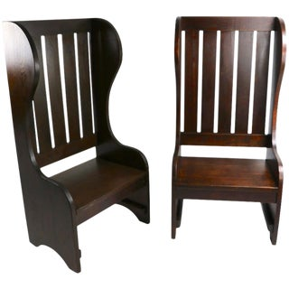 Pair of High Back Mission Chairs For Sale