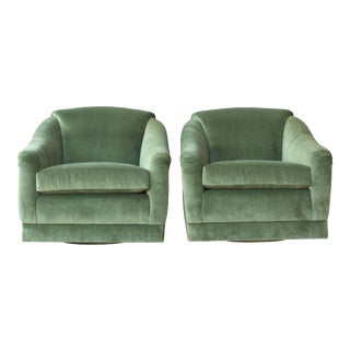 Pair of 1960s Club Chairs on Swiveling Bases For Sale