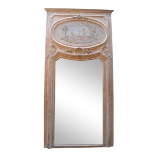 19th C. French Carved Trumeau Mirror For Sale