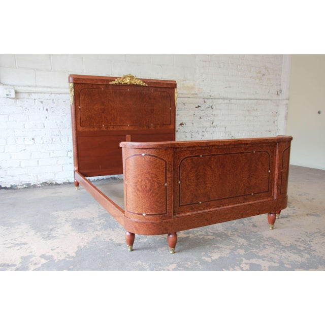 19th Century French Louis XVI Style Burl Wood Inlaid Mahogany Full Size Bed For Sale - Image 12 of 12
