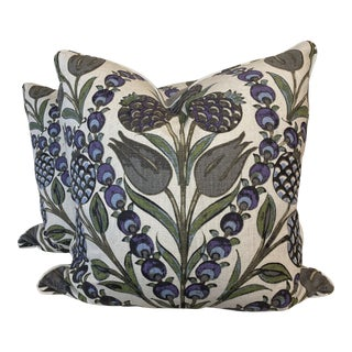 "Thibaut ""Corneila"" in Purple/Blue 22"" Pillows-A Pair For Sale"