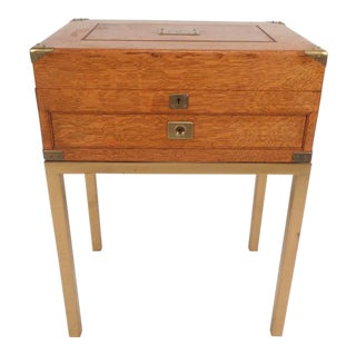 Mid-Century Modern Single Drawer Campaign Style Stand For Sale