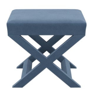 X Bench in Ocean Velvet For Sale