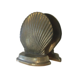Vintage Brass Shell Bookends For Sale