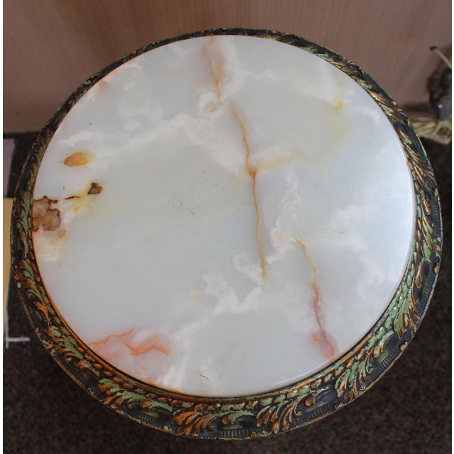 Gemstone French Onyx Top Gueridons With Gryphons Side Table For Sale - Image 7 of 8