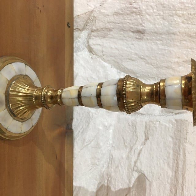 Brass and Mother of Pearl Candle Holder - Image 3 of 3