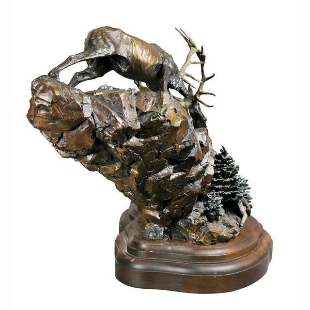 """Western Bronze of Elk """"Forces of Nature"""" by Ken Rowe For Sale - Image 10 of 13"""