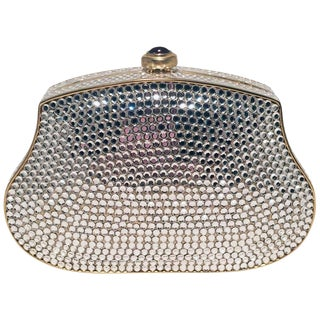 Judith Leiber Clear Swarovski Crystal Mini Minaudiere Evening Bag Clutch For Sale