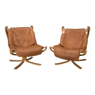 1970s Vintage Sigurd Ressell for Vatne Mobler Norwegian Low Back Falcon Sling Chairs- A Pair For Sale