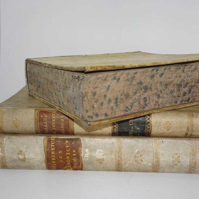 18th Century Traditional Goat SkinVellum Books - Set of 3 For Sale - Image 4 of 11