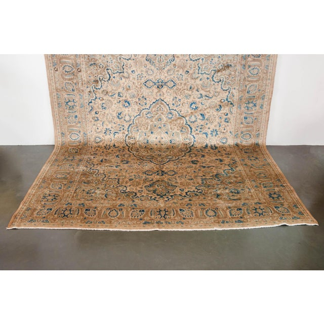 Late 20th Century Persian Cream & Blue Rug - 9′8″ × 12′6″ For Sale - Image 5 of 10